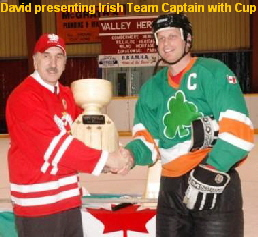 David presenting Irish Team Captain with Cup