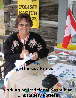 Theresa Prince     working on traditional Kashubian Embroidery Pattern
