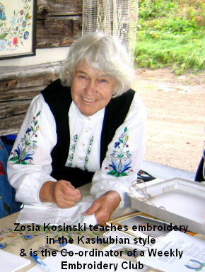 Zosia Kosinski teaches embroidery  in the Kashubian style  & is the Co-ordinator of a Weekly  Embroidery Club